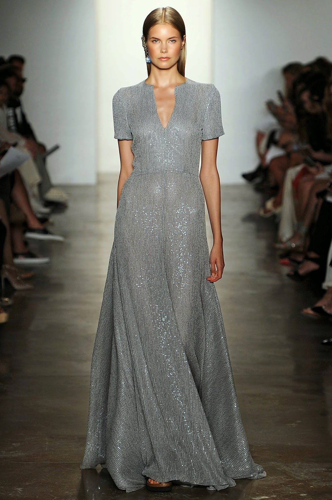 The OAK: #NYFW: Houghton, Modest short sleeve silver glitter gown with v-neck.
