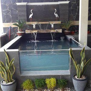 kolam ikan mini dari kaca taman depan rumah (dengan gambar