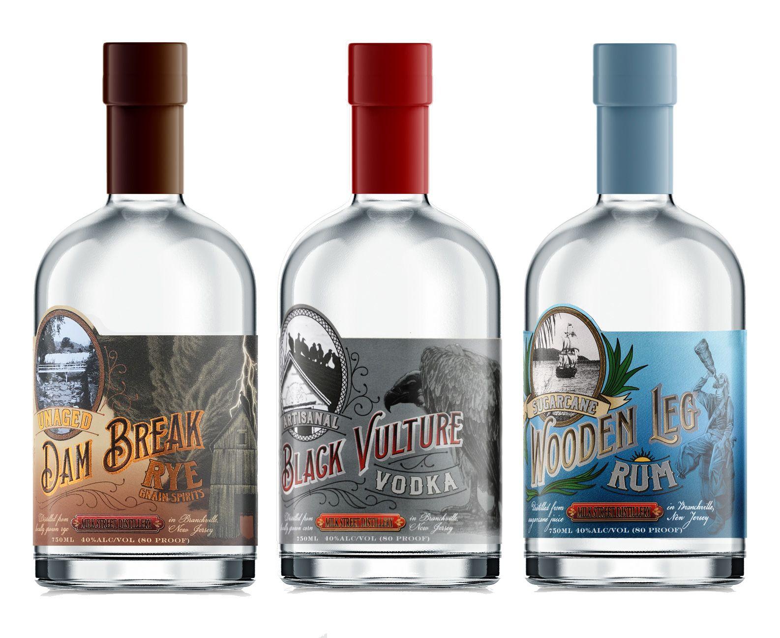 Labels For Craft Spirits Rye Vodka And White Rum From Milk Street Distillery In Branchville Nj Pomegranate Design Creative Packaging Design Craft Spirits