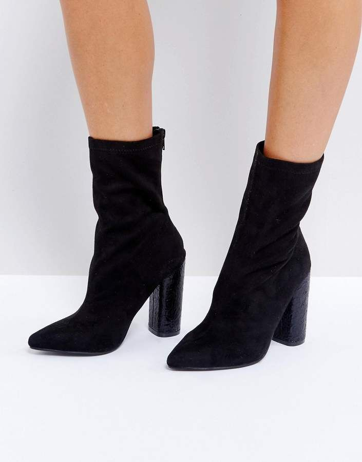 Public Desire Universe Black Crackled Heeled Ankle Boots  e803dce3bb1