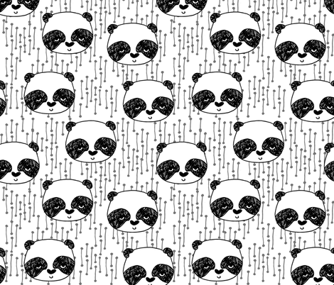 Panda Head - Black and White by Andrea Lauren  fabric by andrea_lauren on Spoonflower - custom fabric