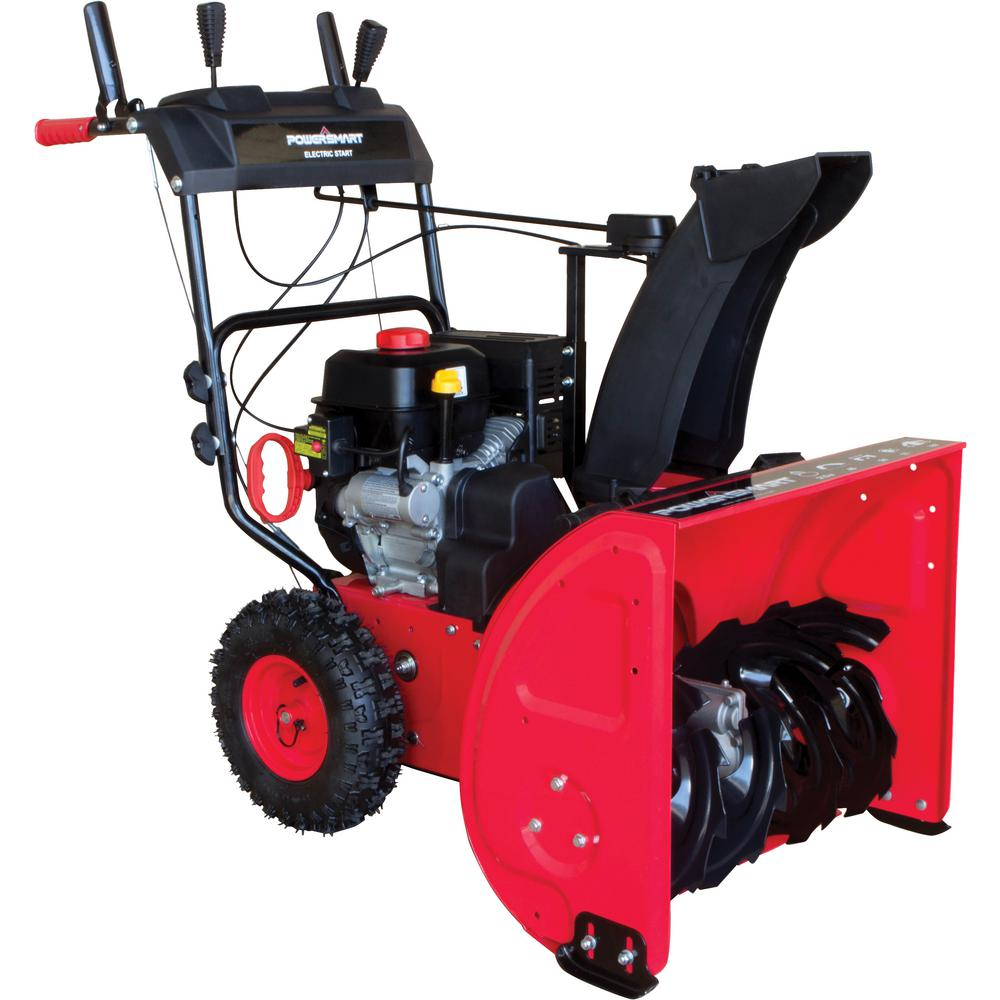 Powersmart 24 In 212 Cc Two Stage Electric Start Gas Snow Blower Db7624e Gas Snow Blower Dual Fuel Generator Snow