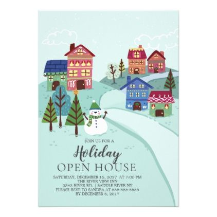 Cute Village Holiday Open House Invitation - christmas cards merry