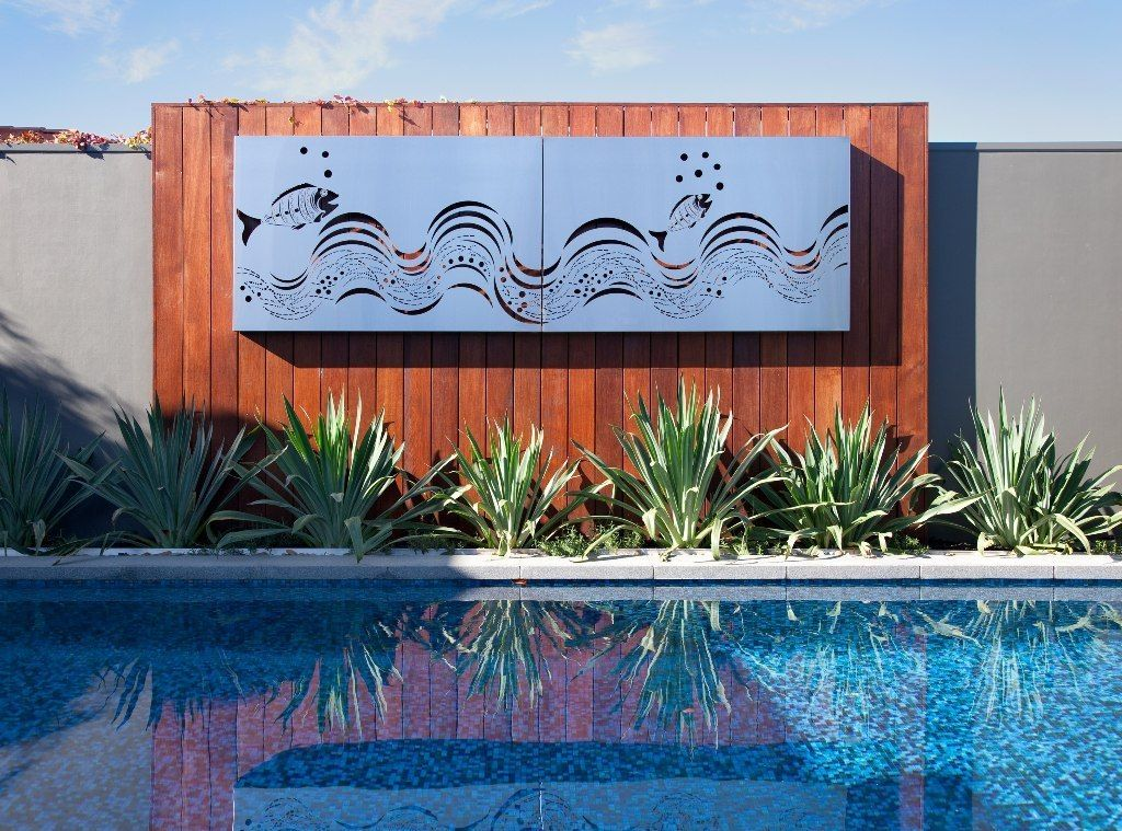 The Grove Installation By Paal Grant Landscapes Featuring Wall Mounted Marine Grade Stainless St Metal Fish Wall Art Outdoor Metal Wall Art Outdoor Metal Art