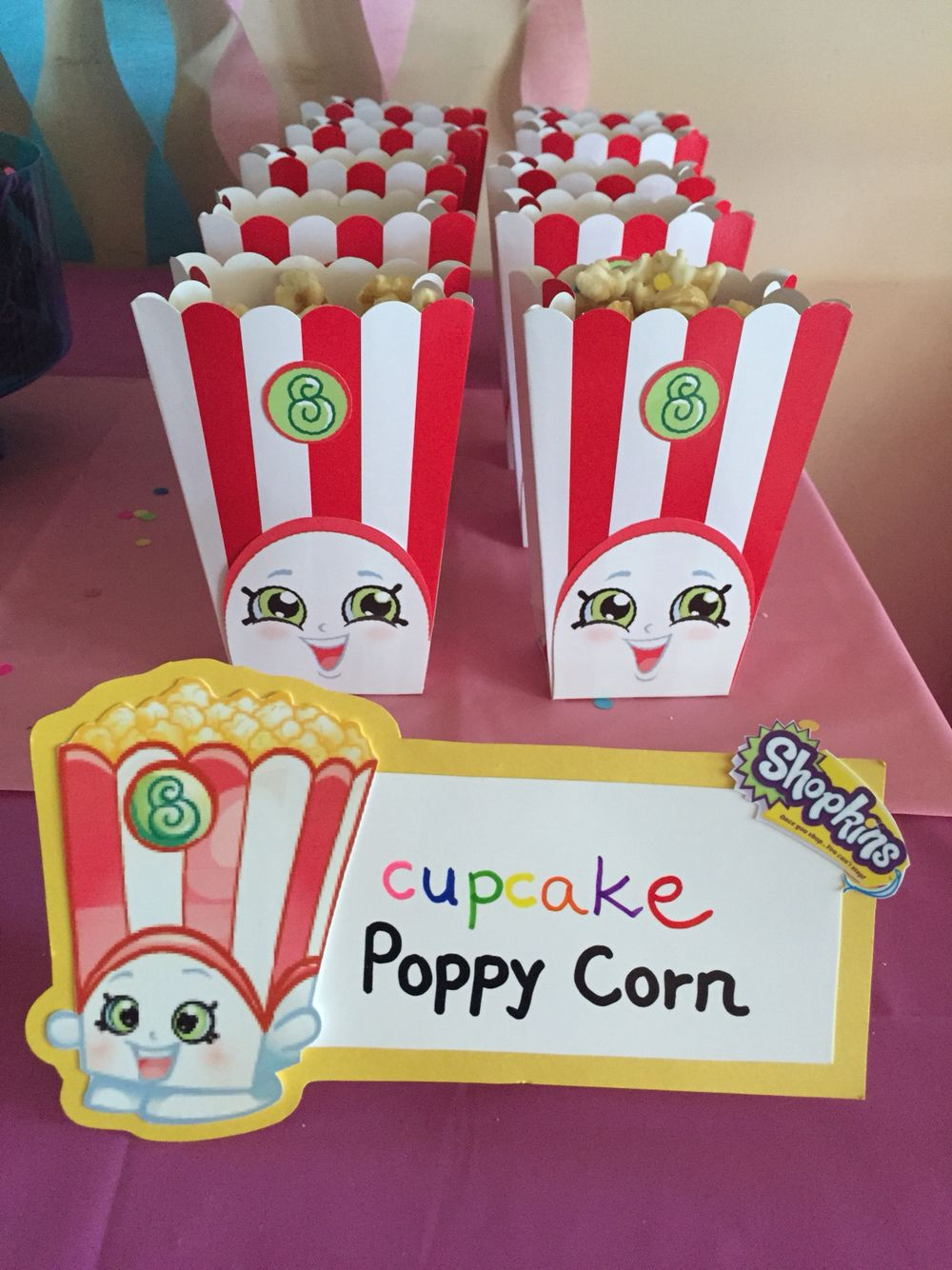 Shopkins Birthday Party Idea  Poppy Corn (Cupcake Carmel Corn From  Popcornopolis, Popcorn Boxes
