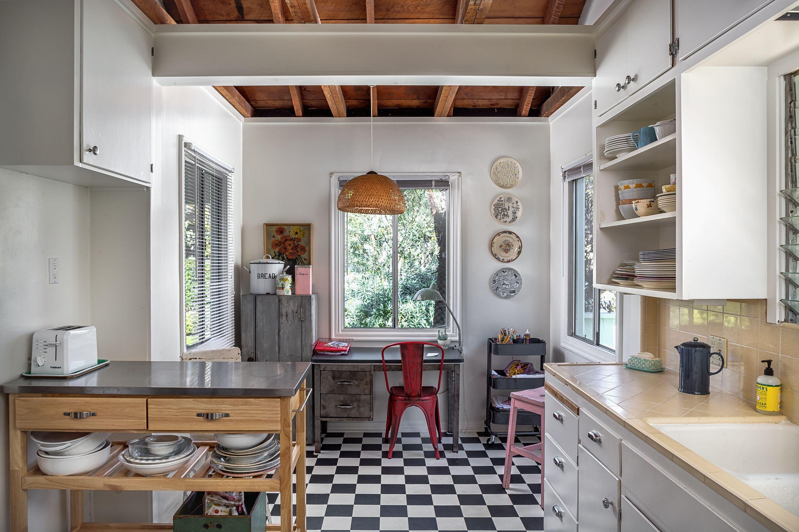 Darling Santa Monica Cottage Asks 2 149m Kitchen Flooring Living Room With Fireplace Cottage M kitchen santa monica