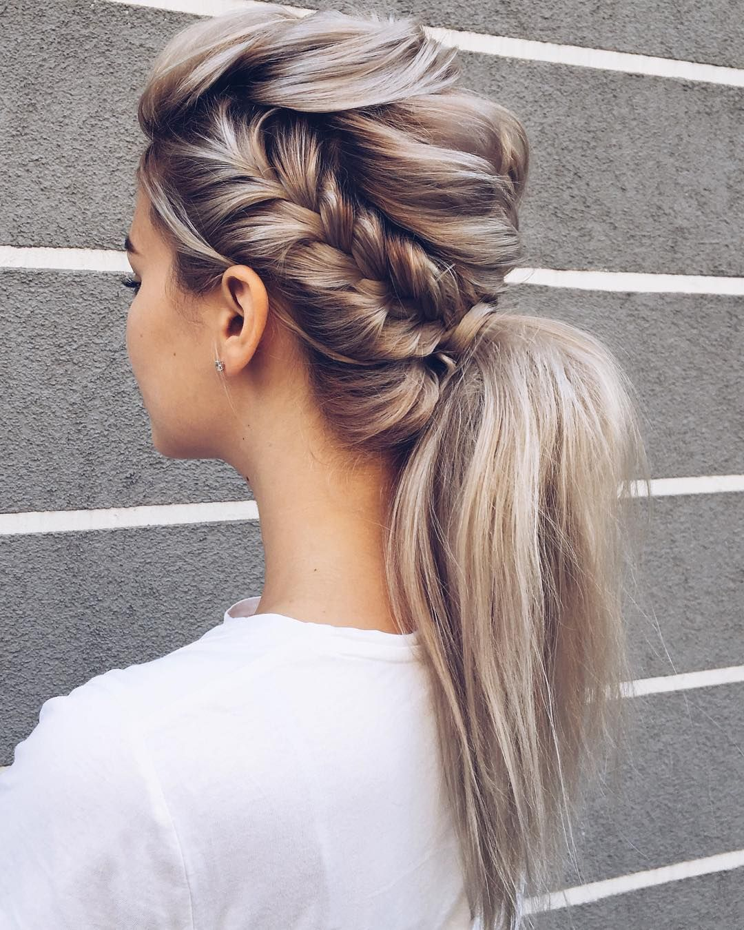 beautiful braid and ponytail hairstyle , fishtail braided
