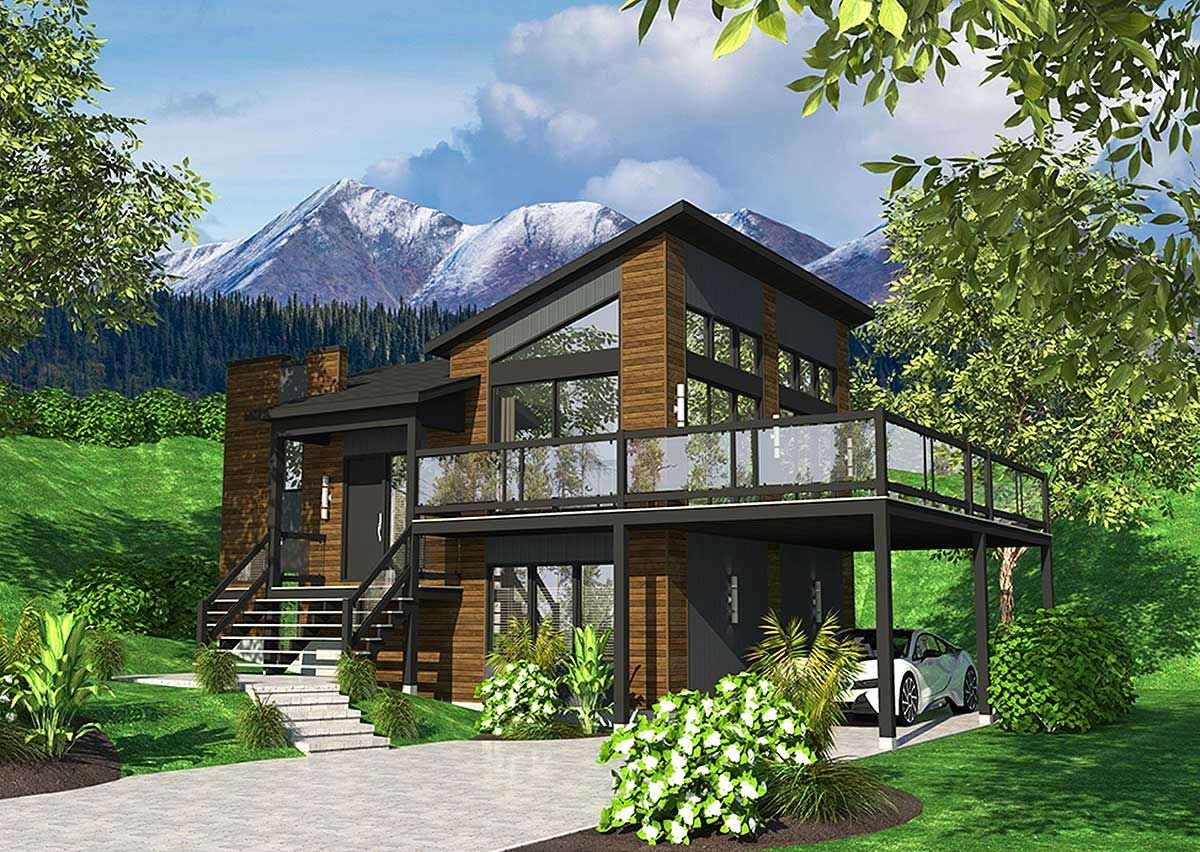 plan 80878pm dramatic contemporary with second floor deck plan 90277pd exciting contemporary house plan