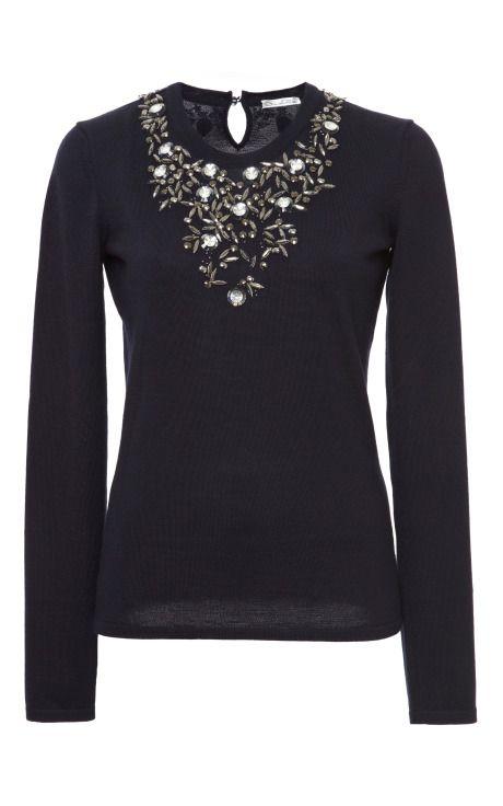 Cashmere La Oscar By Now Renta Pullover Floral Jewel De Silk rxwX0Aqvr