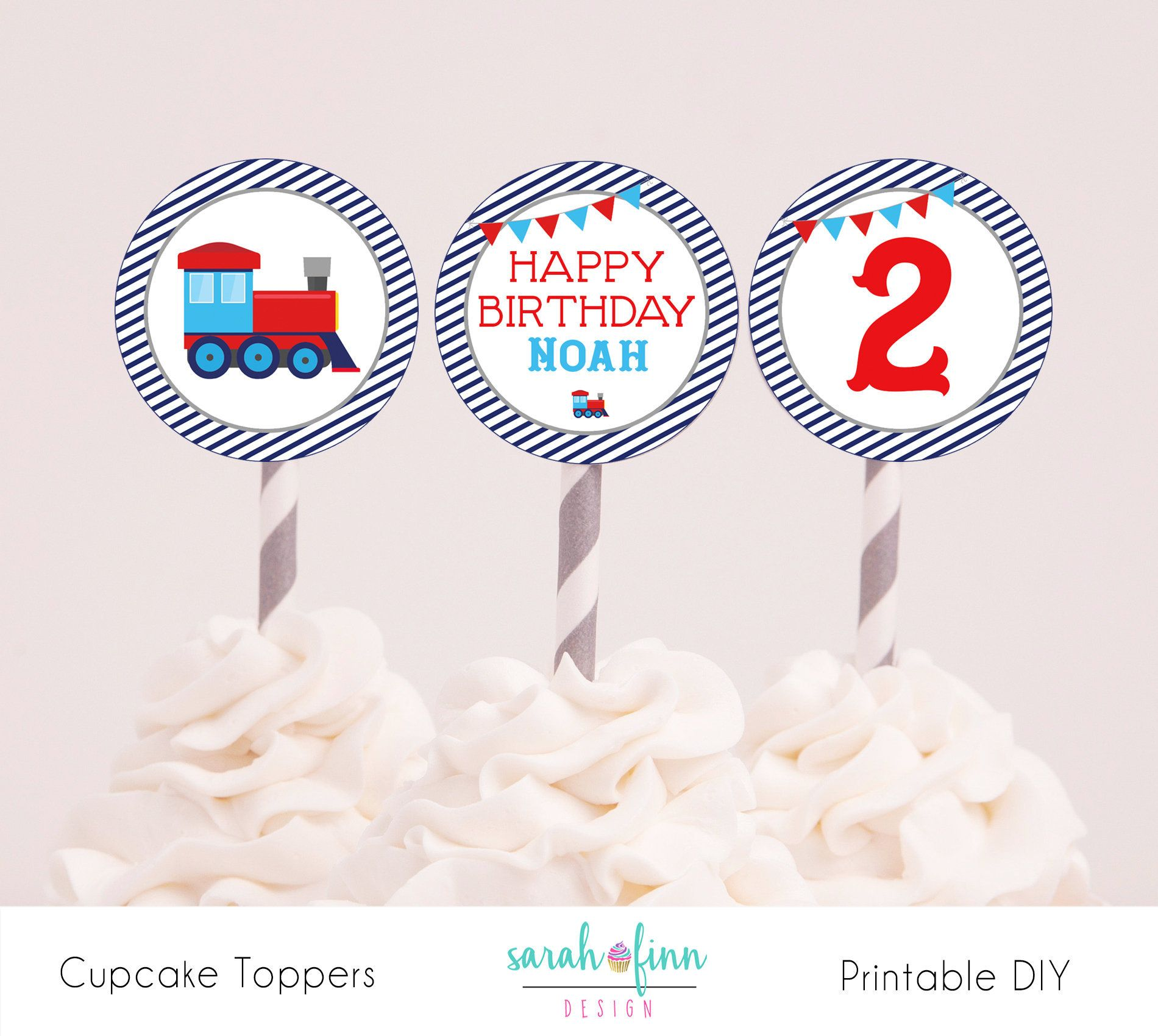 Train Birthday Cupcake Toppers Printable 2 Second Chugga Choo Two Party Decorations DIY Supplies