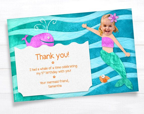 Mermaid THANK YOU Card Note Invitation Kid Birthday Party – Personalized Birthday Thank You Cards