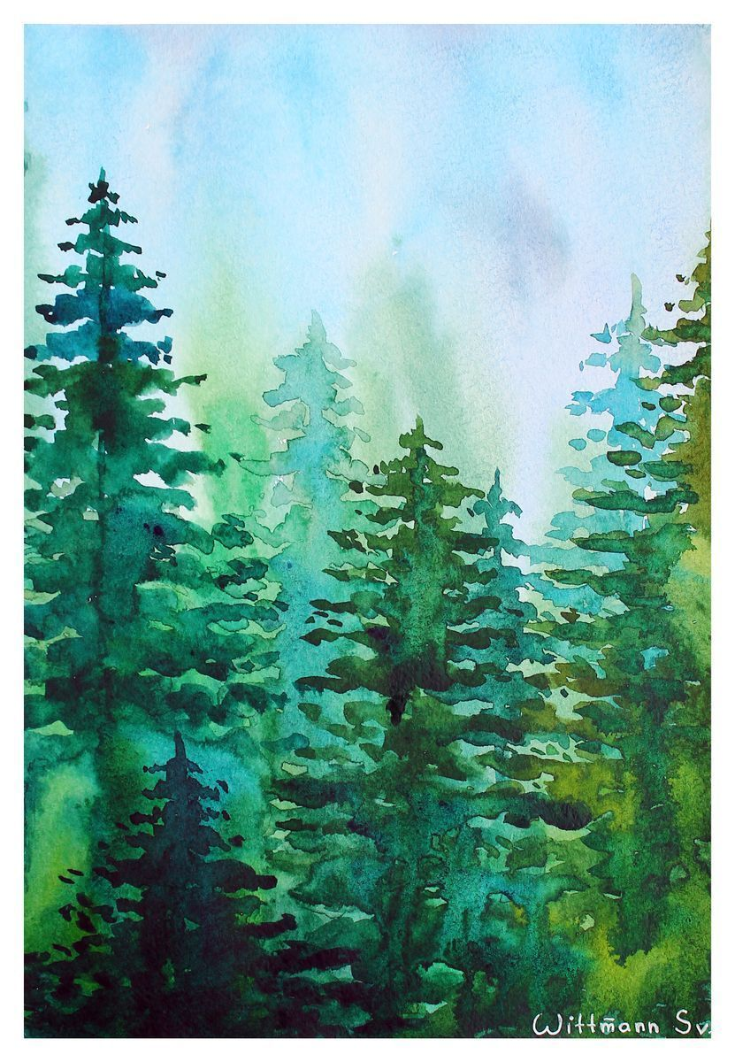 Original Green Forest Watercolor Painting 21x30 Cm Aquarele Art