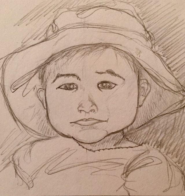 Child in a hat. #pencildrawing #sketches