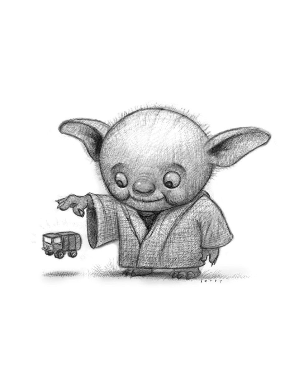 Lil Yoda #starwars, #yoda, #jedi, by www.willterry.com - learn to illustrate children's books at www.svslearn.com