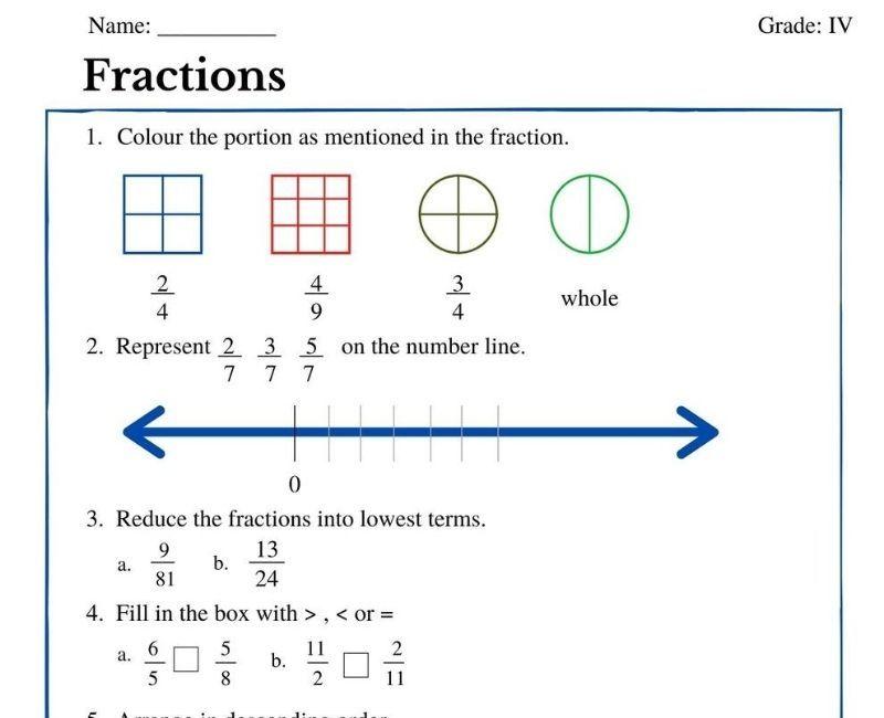 Fractions Worksheets For Grade 4 Fractions Worksheets Fractions Number Line Cbse class maths worksheets fraction