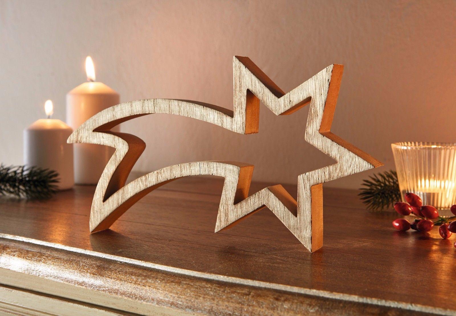 Stern Sternschnuppe Deko Holz Figuren Weihnachten