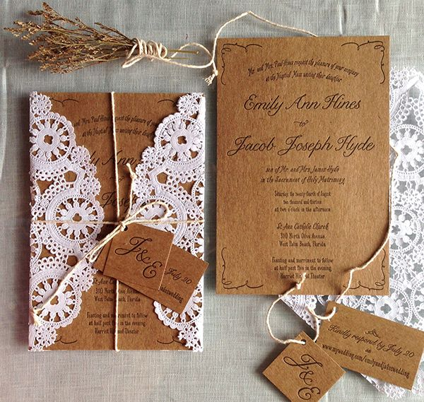 Where To Buy Wedding Invitation Paper: Brown Paper, Twine And Lace Wedding Invitation Packaging