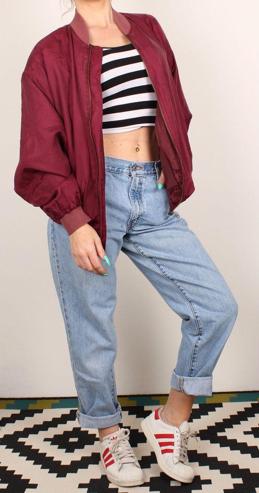 Womens Vintage 90 S Bomber Jacket Grunge Silk Oversized Fashion Denim Fashion Clothes