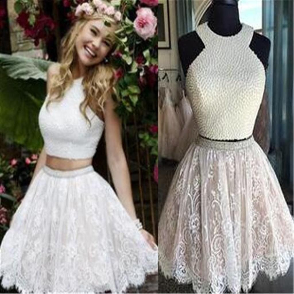 Two piece homecoming dressshort formal dressgraduation dressshort