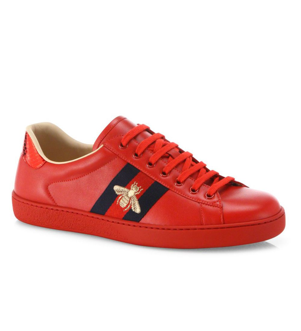 29ac45ea6d0 Gucci New Ace Embroidered Low-Top Sneakers Red  98.00