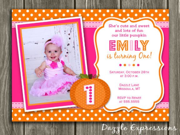 Printable Pink Pumpkin Birthday Invitation – Pink 1st Birthday Invitations