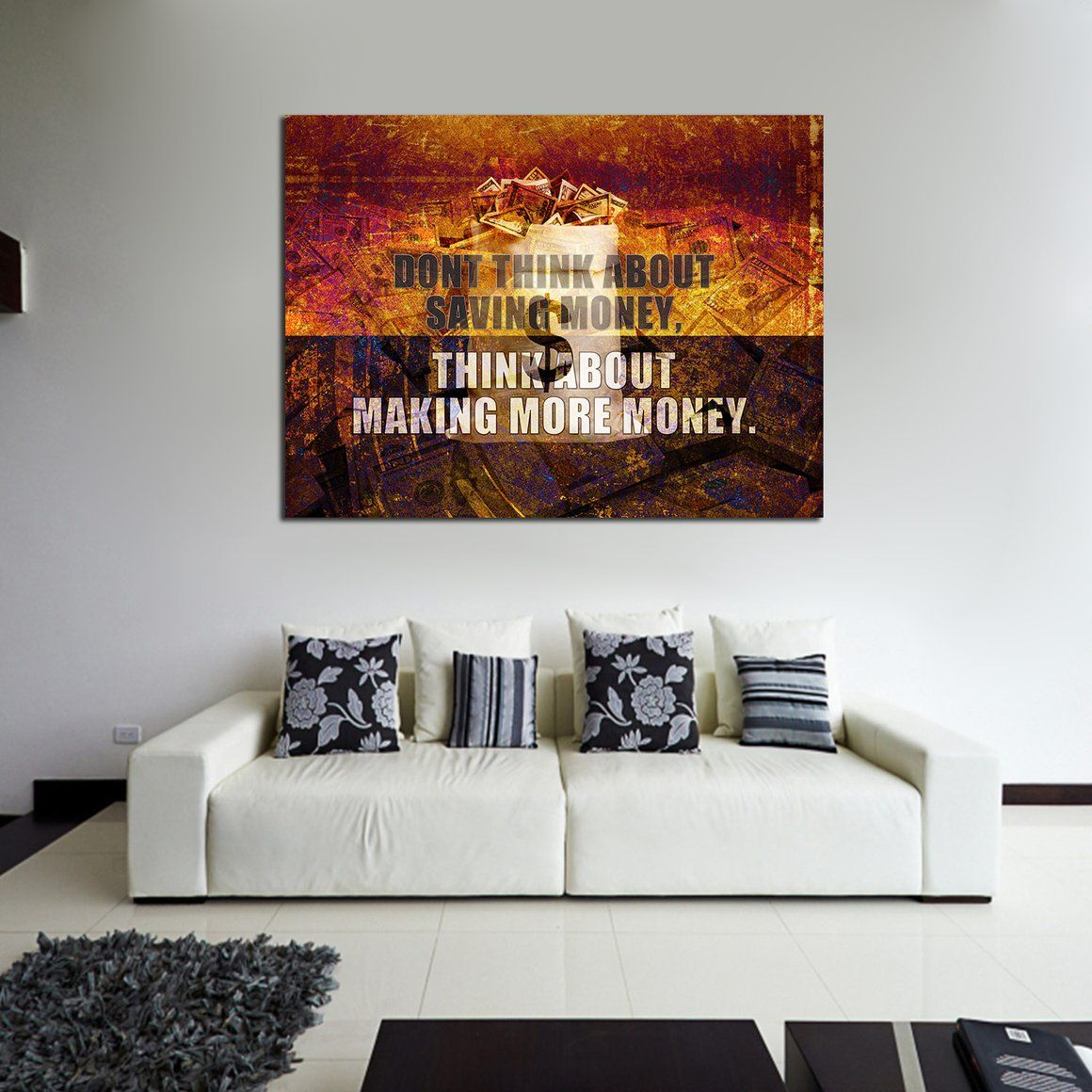 Think About Making More Money Motivational Canvas Wall Art Canvas Wall Art Motivational Decor Funny Wall Art