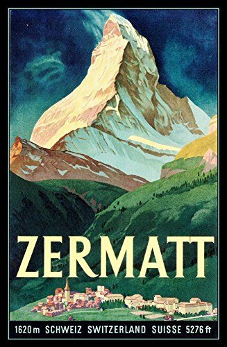 Zermatt Switzerland Classic Travel Poster Fridge Magnet 2 Https Www Amazon Com Dp B00voehepa Ref C Vintage Ski Posters Vintage Poster Art Travel Art Print