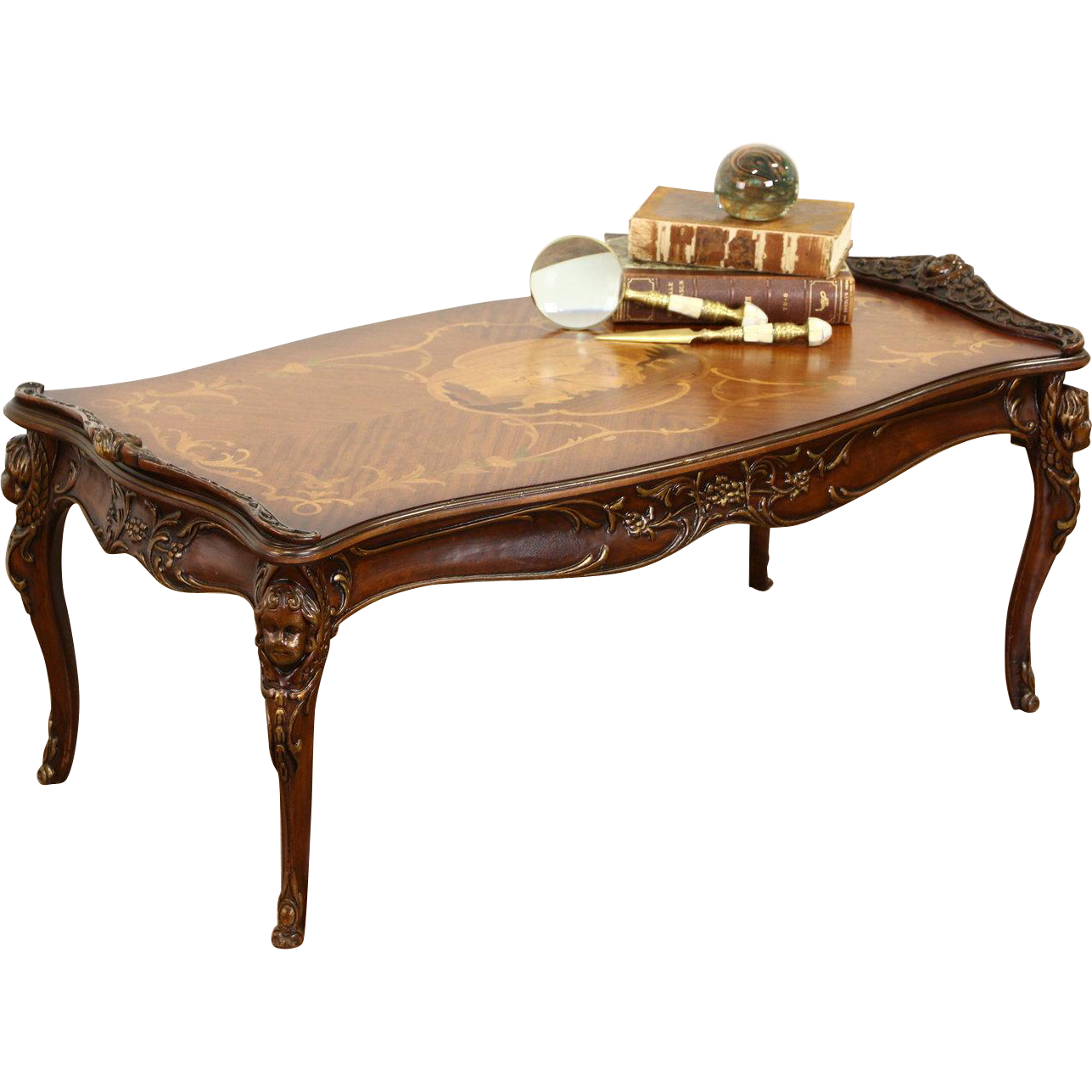 Coffee Table 1940 S Vintage Carved Angels Or Cherubs Classical Marquetry Coffee Table Table Carving