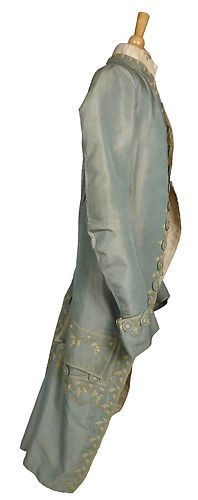 Museum Deaccessioned Silk Faille Coat & Waistcoat Tambour Embroidered 1770-90's Source: Sarah Elizabeth Lepardo
