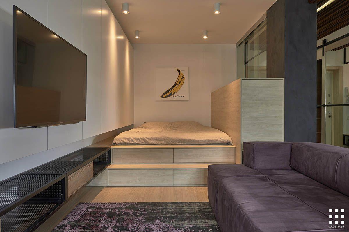 Studio Apartments In Three Modern Styles Odnokomnatnaya Kvartira Dizajn Interera Dizajn Kvartiry