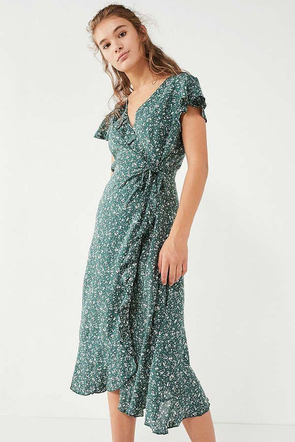 71c94c53c010 Kimchi Blue Ruffle Midi Wrap Dress | Clothes | Dresses, Sunday dress ...