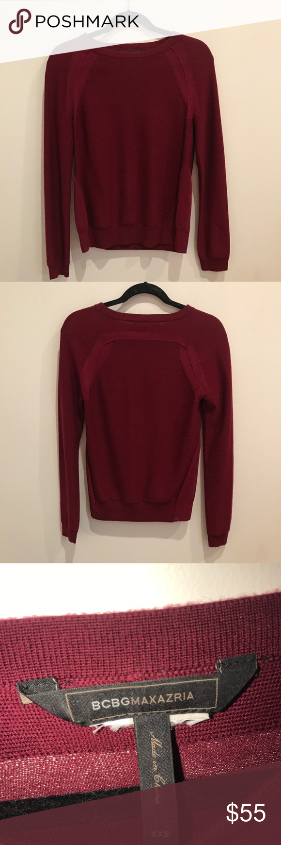 BCBG sweater Burgundy sweater super cute on! BCBGMaxAzria Sweaters ...