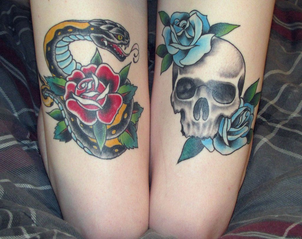 Blue Roses With Skull And Red Rose With Snake Thigh Tattoo