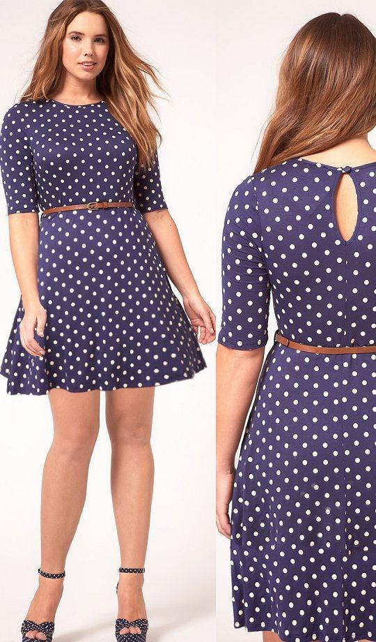 Vestido fondo azul pepas blancas | Moda para rellenitas | Pinterest ...