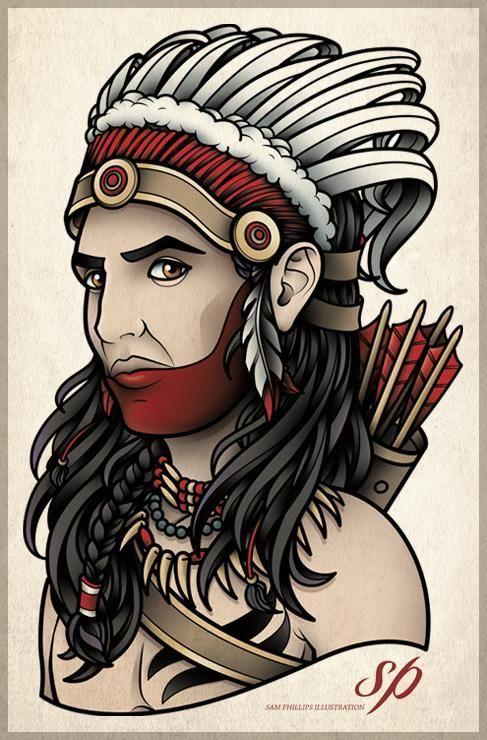 american indian chief tattoo sam phillips artist illustrator graphic designer flash. Black Bedroom Furniture Sets. Home Design Ideas
