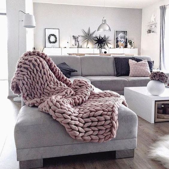 Bon Cozy House, Sofa Blanket, Pink Blanket, Chunky Blanket, Couch Throws, Sofa
