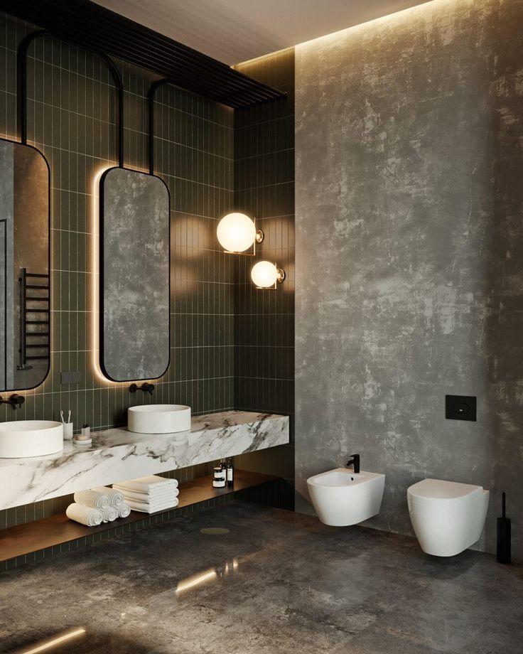 Schön Waschtisch Marmor Und Sinks Aufgesetzt (Boden Aber Parkett) Masterbad OKO  Apartment By Tolko Interiors