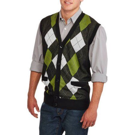 Ten West Mens Cardigan Pocket Argyle Sweater Vest Size Small