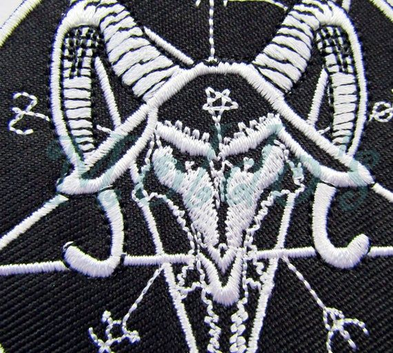Satan Devil Witch Wiccan Badge Patch Embroidered Sew Black And White Motif  108