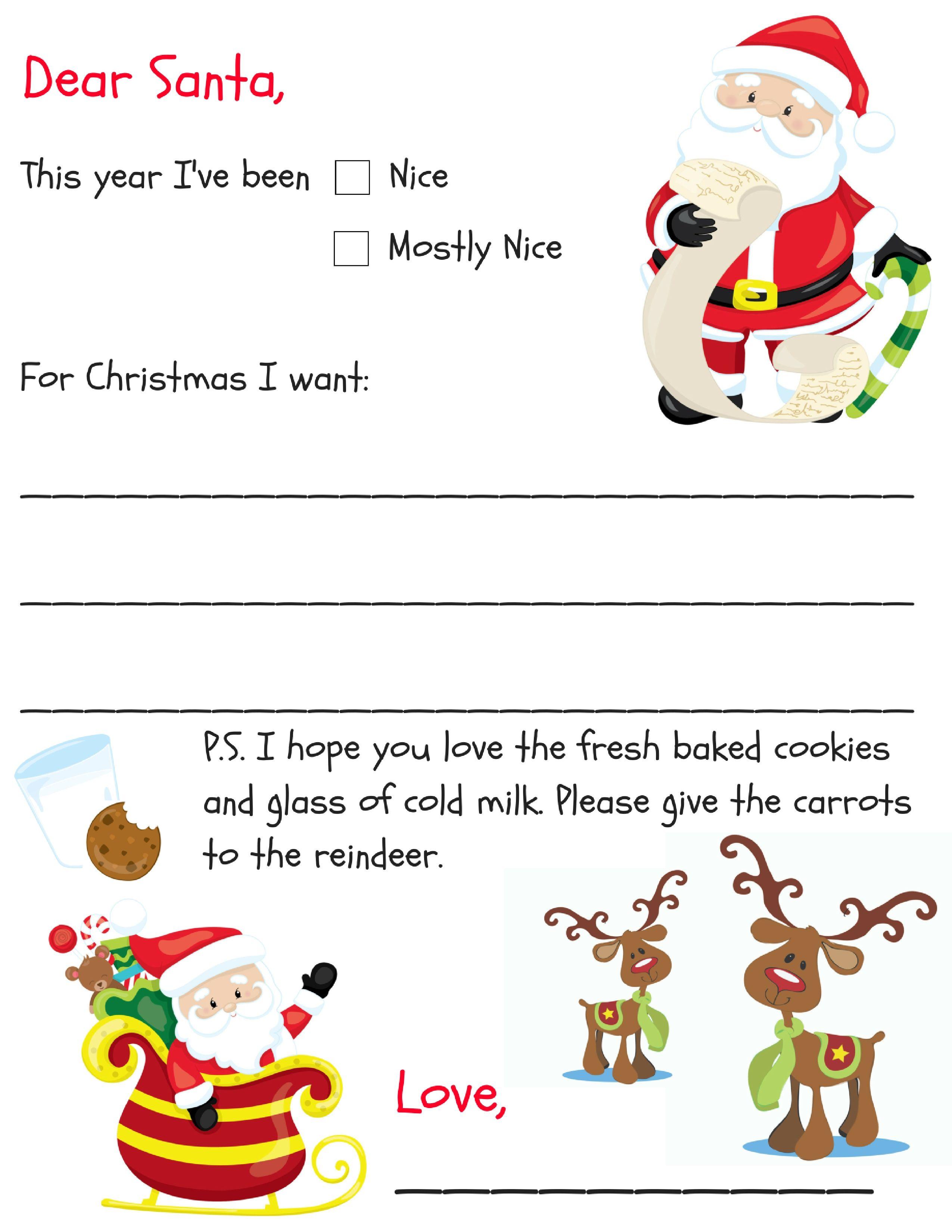Free Printable Dear Santa Letter Dear Santa Letter Santa
