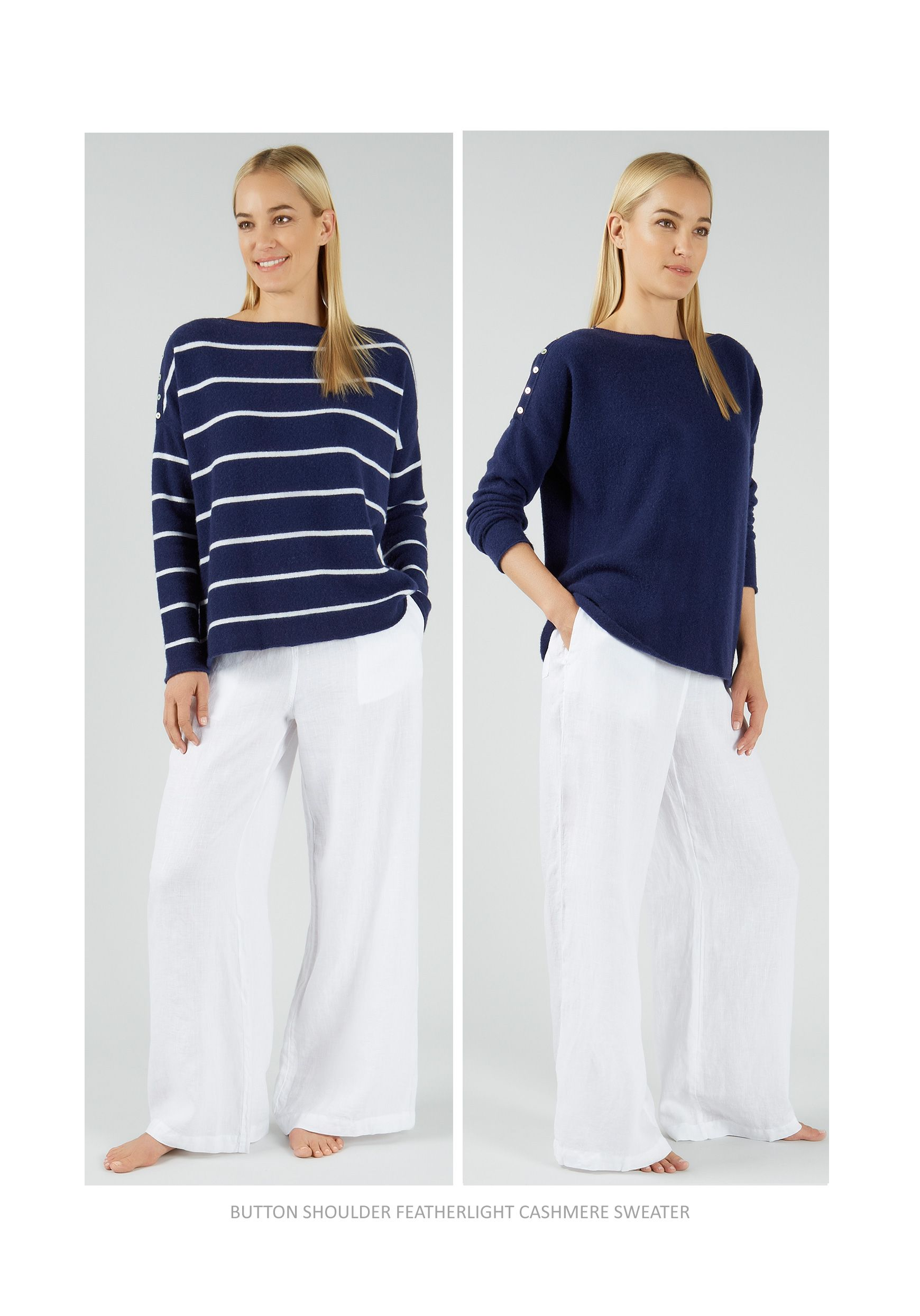 Button Shoulder Featherlight Cashmere Sweater in nautical stripes ...
