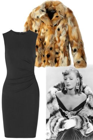 15 classic Old Hollywood outfits that will never go out of style: Greta Garbo's little black dress and fur coat. Shop the look here:
