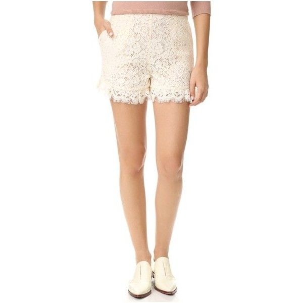 Rachel Zoe Lace Shorts (699.725 COP) ❤ liked on Polyvore featuring shorts, ecru, slim fit shorts, high rise shorts, high waisted lace shorts, high-waisted shorts and highwaist shorts