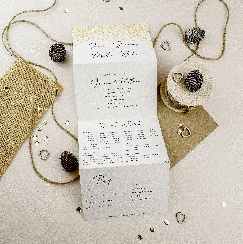 Concertina Wedding Invite Gold