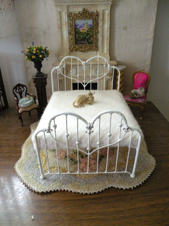 Dollhouse Miniature 1:12 Scale Artisan Undressed Wrought Iron Bed ...