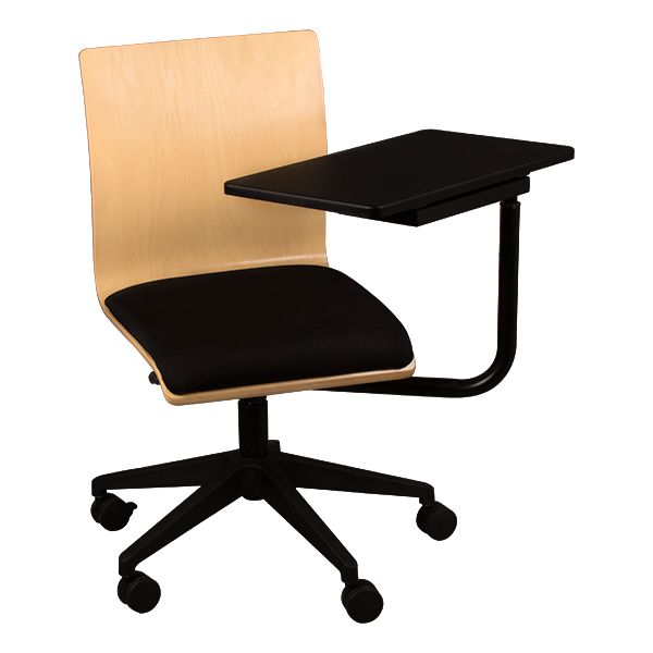 Mobile Wooden Tablet Arm Chair w/ Padded Seat