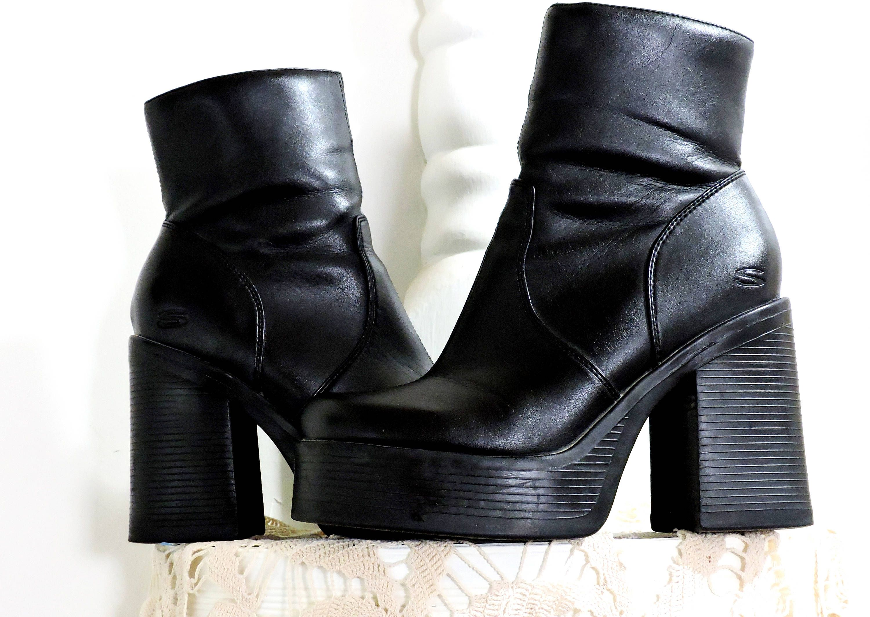 3ea92b13f3f 90s chunky ankle boots / size US 8 / 1990s Sketchers platform boots ...