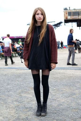 grunge style Ripped bottoms with beanie and jacket 90s fashion