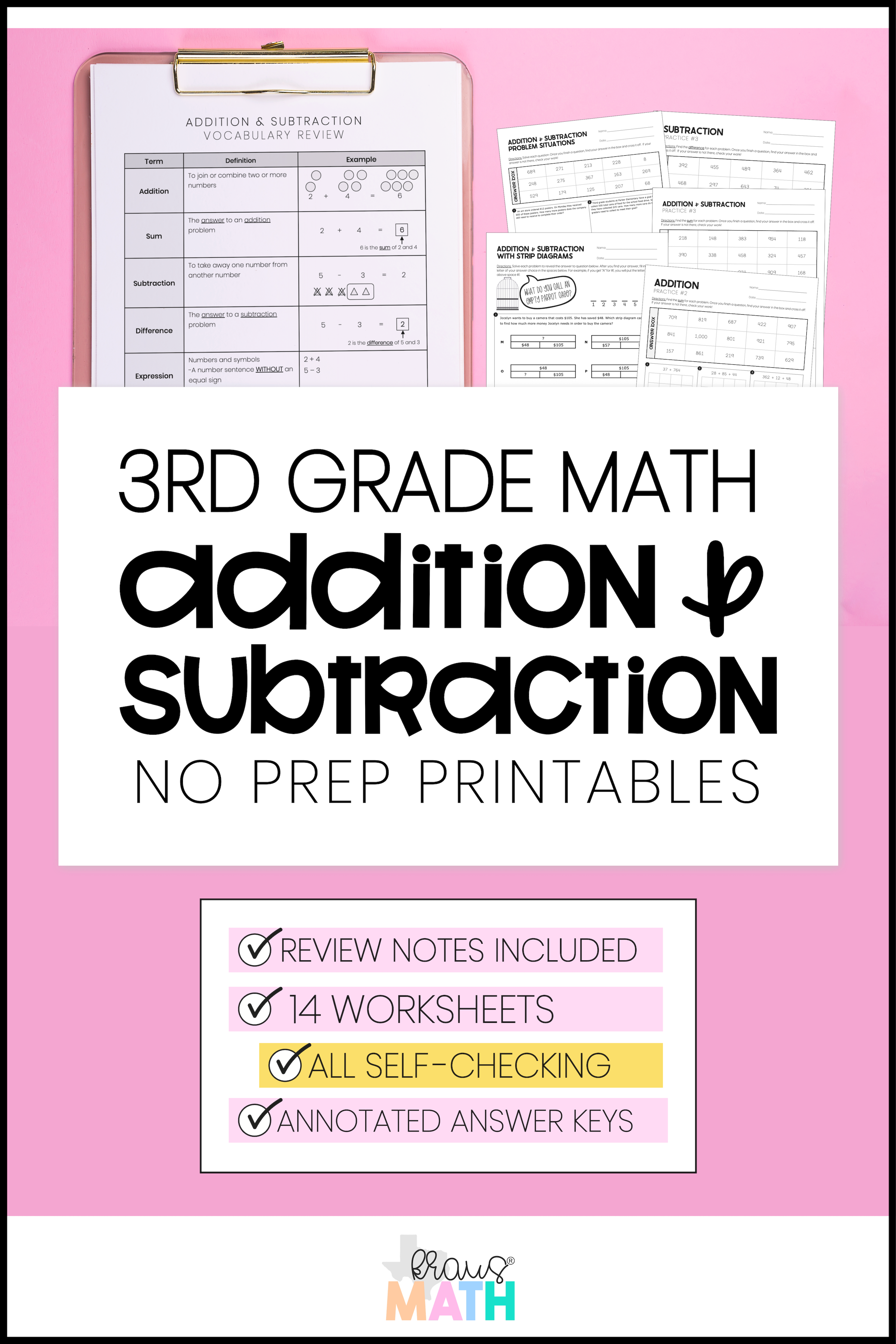 3rd Grade Math Packet 2 Addition Subtraction Kraus Math 3rd Grade Math Math Packets Math Facts [ 3600 x 2400 Pixel ]