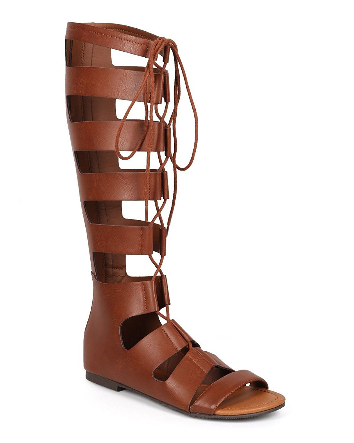 fac5485962bb Soda CI88 Women Knee High Leatherette Open Toe Lace Up Gladiator Sandal -  Tan   Discover this special product